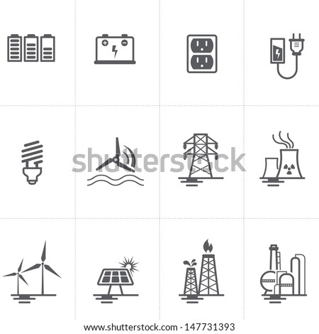 Energy, electricity, power icons set. - stock vector