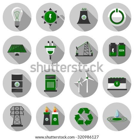 energy flat icon set vector illustration design with long shadow isolated on white background. for web and mobile application - stock vector