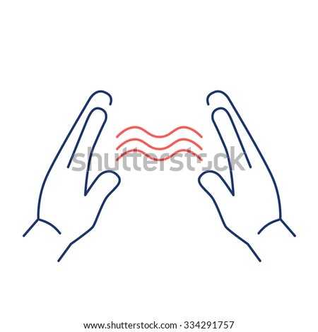 Energy flowing between healings hands red and blue linear icon on white background | flat design alternative healing illustration and infographic - stock vector