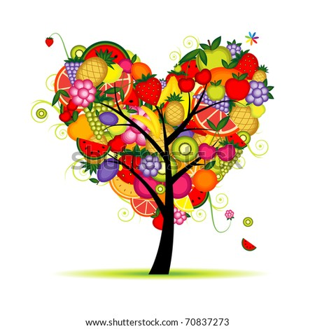 Energy fruit tree heart shape for your design - stock vector