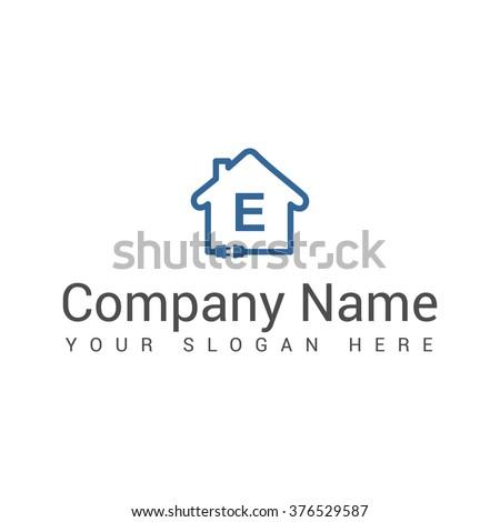 Energy house. Battery house. Power house. Electric house. Abstract logo. Brand identity. Bolt - stock vector