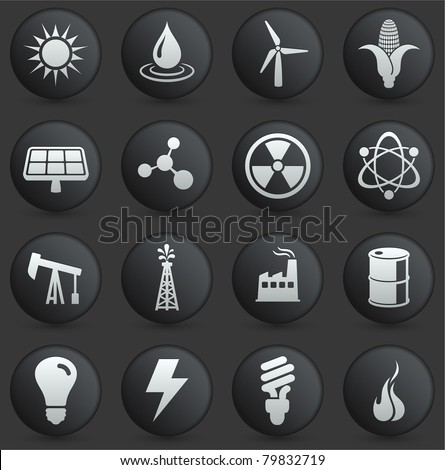 Energy Icon on Round Black and White Button Collection Original Illustration - stock vector