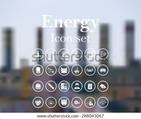 Energy icon set. EPS 10 vector illustration with mesh and without transparency. - stock vector