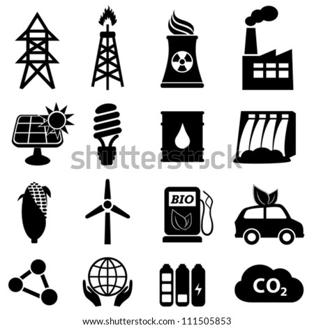 Energy icon set on white - stock vector