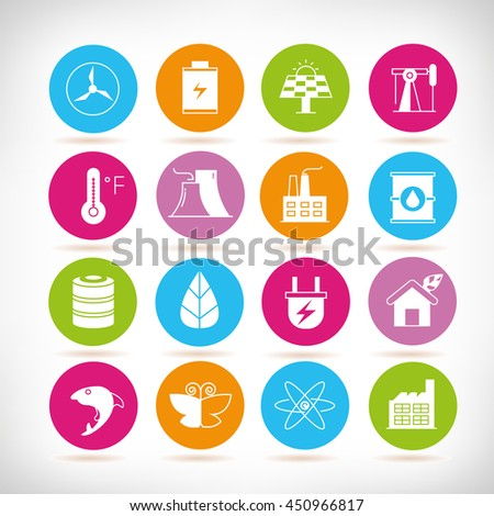 energy icons, clean energy icons - stock vector