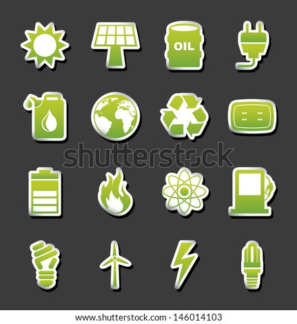 energy icons over black background vector illustration  - stock vector