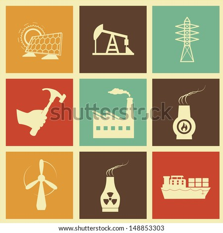 energy icons over cream background vector illustration  - stock vector
