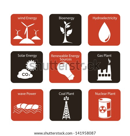 energy icons over white background vector illustration - stock vector