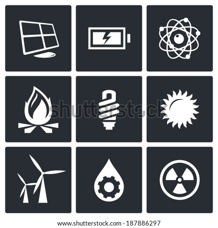 energy icons set - stock vector