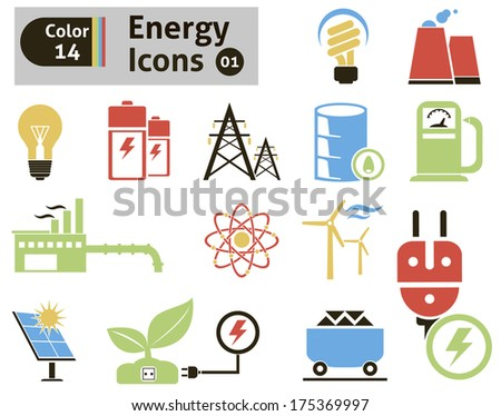 Energy icons. Vector set for you design - stock vector