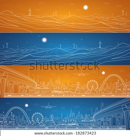 Energy industrial panorama, mountains landscape, vector set lines composition - stock vector