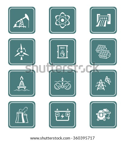 Energy, power and electricity icon-set - stock vector