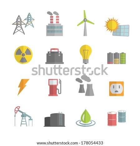 Energy power flat icons set of solar panels wind turbine and nuclear plant isolated vector illustration - stock vector
