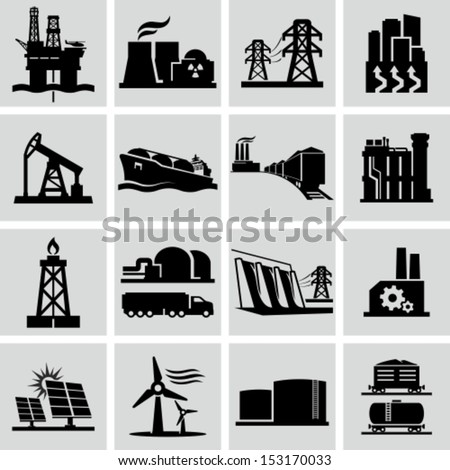 Energy production icons - stock vector
