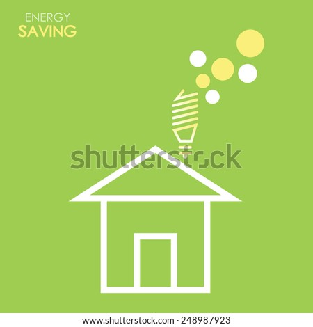 Energy saving background house with light bulb in green and yellow colors art - stock vector