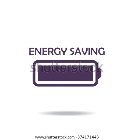 energy saving battery icon, vector illustration. Flat design style - stock vector