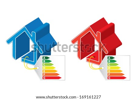 Energy saving certificate concept, cold and hot building concept, vector illustration - stock vector