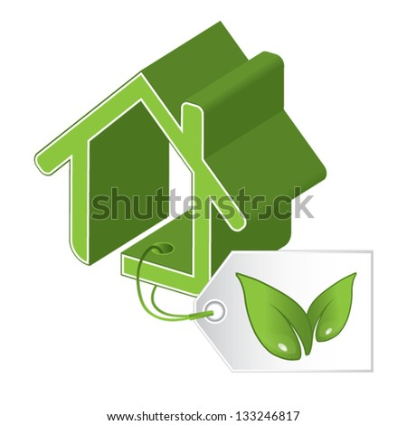Energy saving certificate concept, green building concept, vector illustration - stock vector