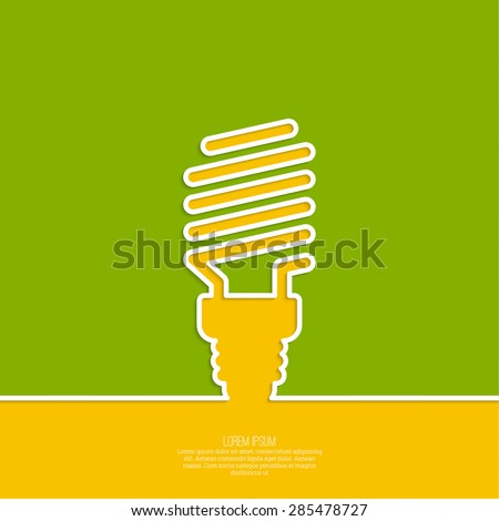 Energy saving fluorescent light bulb icon. concept of big ideas inspiration innovation, invention, effective thinking. text. minimal. Outline. - stock vector