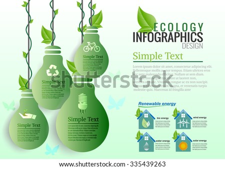 Energy saving green bulbs concept .save world vector illustration. - stock vector
