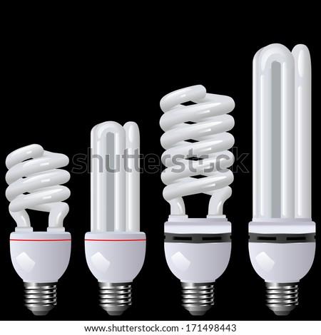 Energy saving lamp black - stock vector