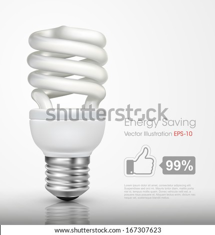Energy saving lamp isolated on white background - stock vector