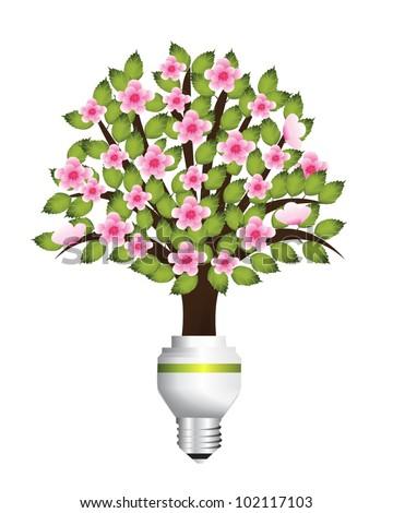 Energy saving light bulb creative vector - stock vector