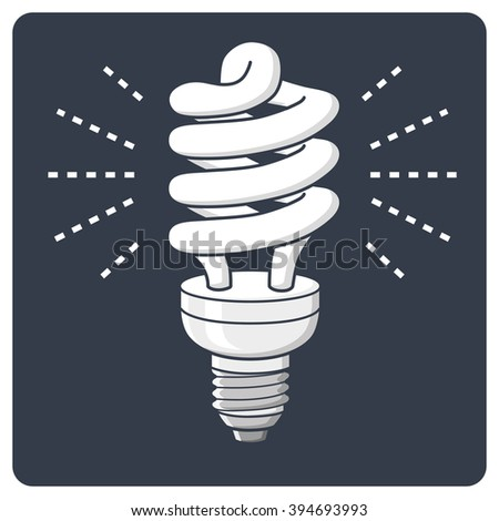Energy saving light bulb glowing icon on a dark background. - stock vector