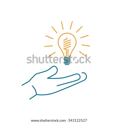 Energy saving light bulb in hand ecology and environment vector icon and infographic colorful on white background - stock vector