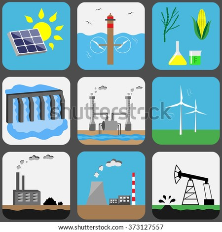 Energy sources vector icons set: solar, water, biofuel, hydroelectric, geothermal, wind, coal, nuclear or CHP, petroleum - stock vector