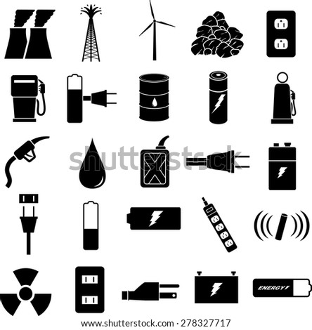 energy symbols set - stock vector