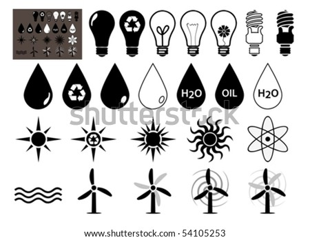 Energy vector icons set that symbolize energy	  filled symbols - stock vector