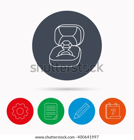 Engagement ring icon. Jewellery box sign. Calendar, cogwheel, document file and pencil icons. - stock vector