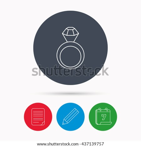 Engagement ring icon. Jewellery with diamond sign. Calendar, pencil or edit and document file signs. Vector - stock vector