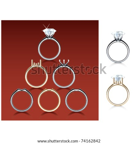 Engagement ring selection and diamond - stock vector