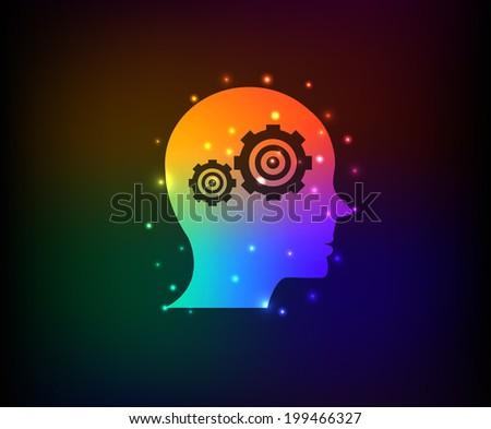 Engine brain symbol,Rainbow vector - stock vector