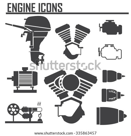 engine icons set vector illustration. - stock vector
