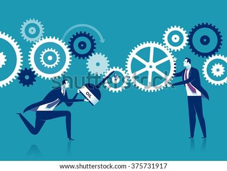 Engine Repair. Concept business illustration - stock vector