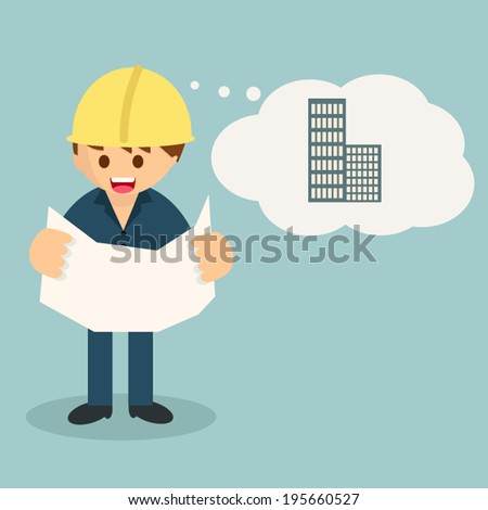 engineer at work, vector - stock vector