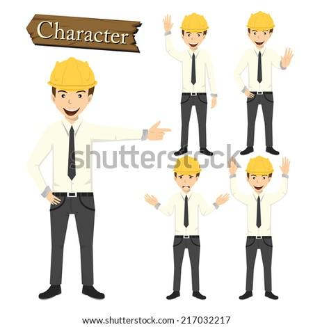 Engineer character set vector  - stock vector