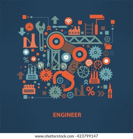 Engineer concept design on dark background,vector - stock vector