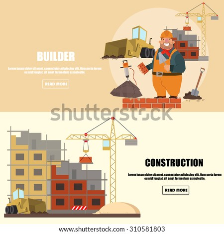 Engineer construction industrial factory manufacturing workers flat banner set isolated vector illustration - stock vector