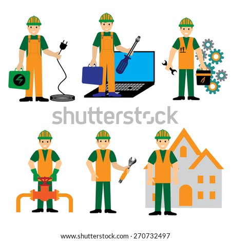 Engineer Mechanic Electrician Wireman Construction Architect Pictogram Symbol Icon - stock vector
