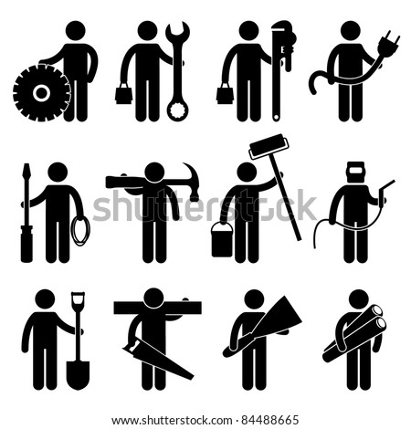 Engineer Mechanic Plumber Electrician Wireman Carpenter Painter Welder Construction Architect Job Occupation Sign Pictogram Symbol Icon - stock vector