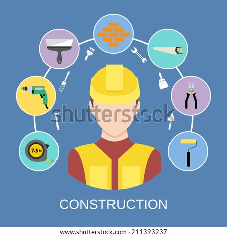 Engineer silhouette avatar and builder and construction industry instrument assortment icons set vector illustration - stock vector