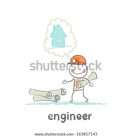engineer stands near the drawings and thinking about home - stock vector