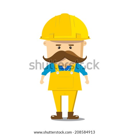 engineer vector character white background - stock vector