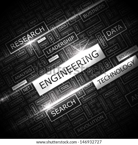 ENGINEERING. Background concept wordcloud illustration. Print concept word cloud. Graphic collage with related tags and terms. Vector illustration.  - stock vector