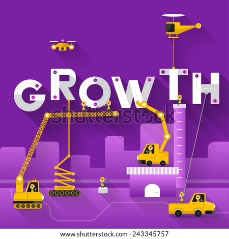 Engineering building text Growth. Vector Illustrate - stock vector