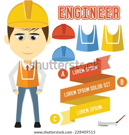 Engineering character design on white background,clean vector - stock vector
